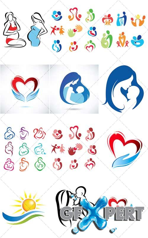 Happy family - collection of logos - Vector