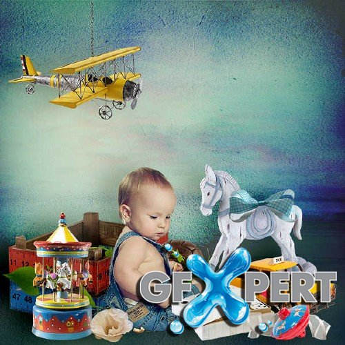 Scrapbooking set - Little toys for little boys