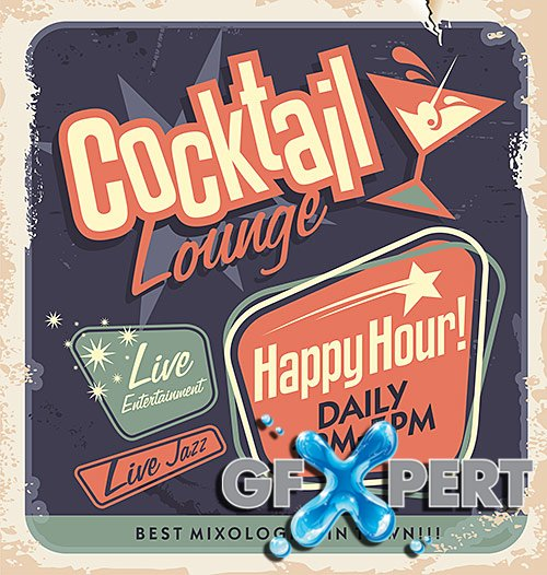 Popular retro posters for bars, cocktails, coffee - VectorStock