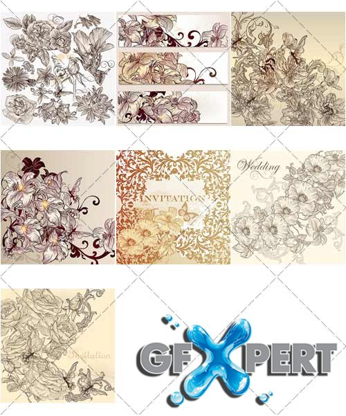 Wedding invitation cards with flowers and butterflies, 2 - VectorStock