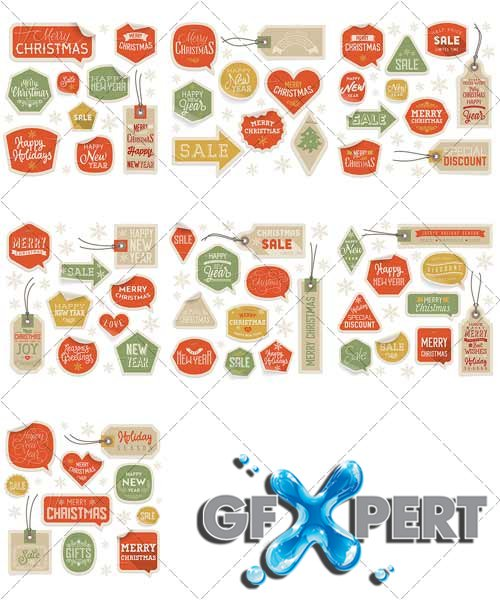 Stickers holiday discounts, Christmas and New Year - VectorStock