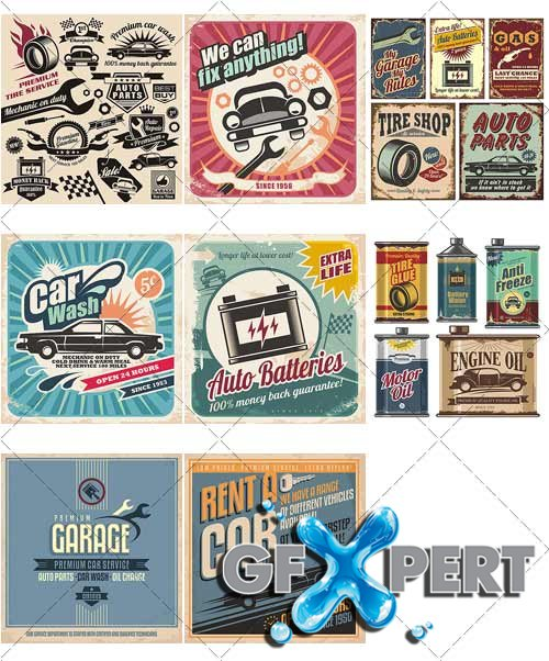 Old-fashioned posters of sixties, auto shop - VectorStock