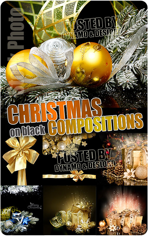Christmas Compositions on black - UHQ Stock Photo