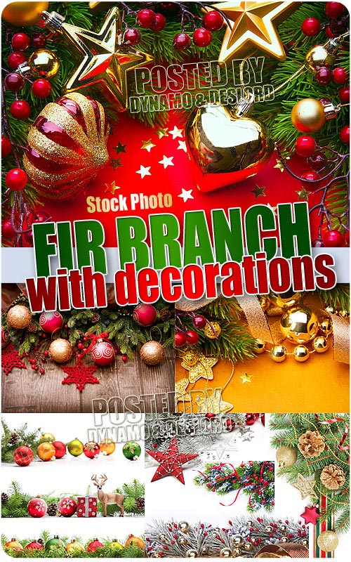 Fir branch with decorations - UHQ Stock Photo