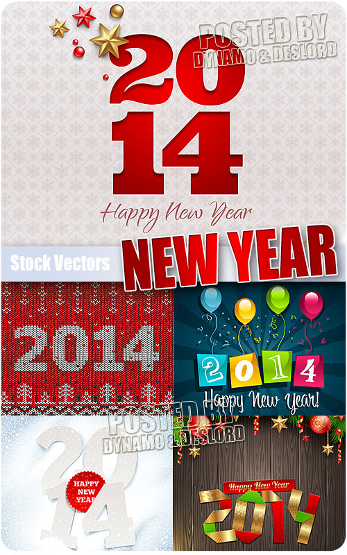 Happy New Year 2014 - Stock Vectors