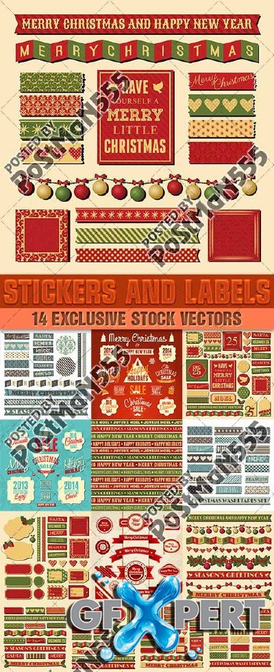 Stickers holiday discounts, Christmas and New Year, 2 - VectorStock