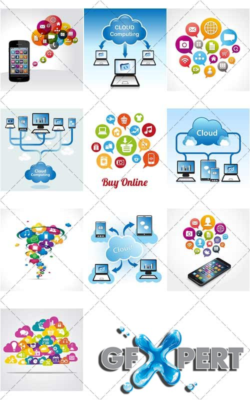 Cloud Computing, 3 - VectorStock