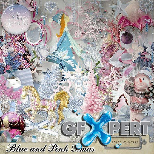 New year scrap set - Blue And Pink Xmas