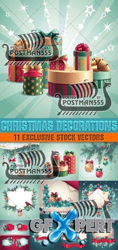 Christmas decorations, 3 - Vector