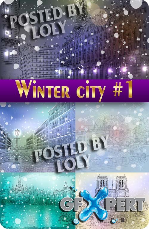 Winter City #1 - Stock Vector