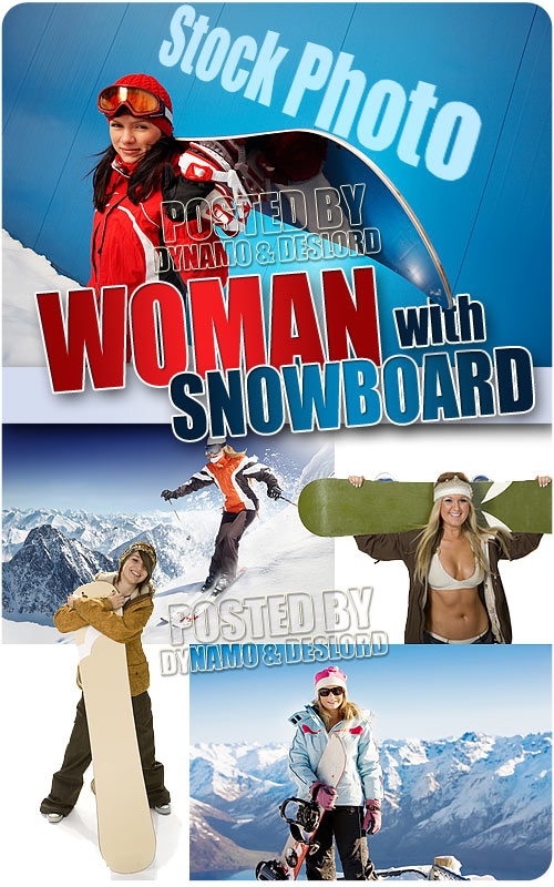 Woman with snowboard - UHQ Stock Photo