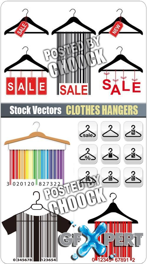 Clothes hangers - Stock Vector