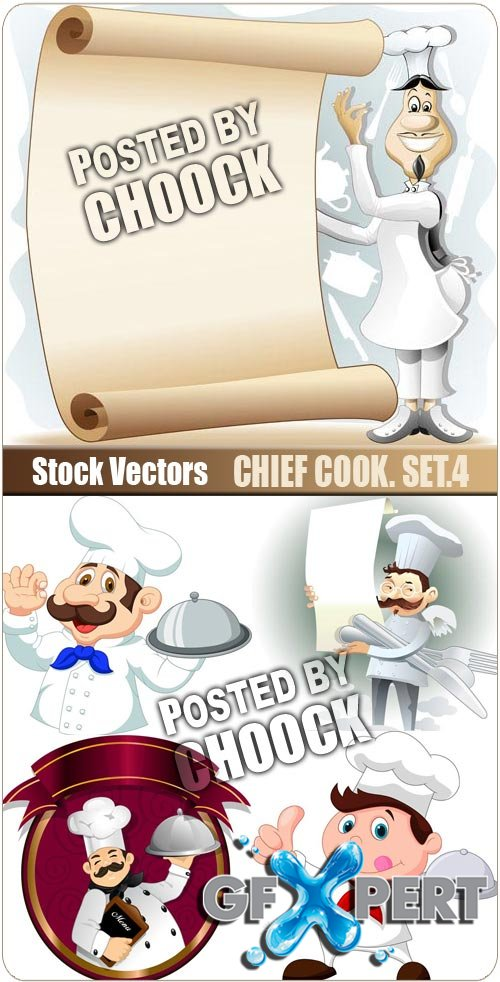 Chief cook. Set.4 - Stock Vector