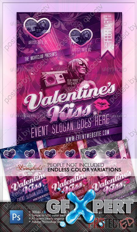 GraphicRiver Valentine's Kiss Flyer 1219108