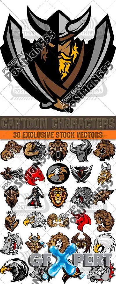 Cartoon characters mascots sports teams, collection - Vector