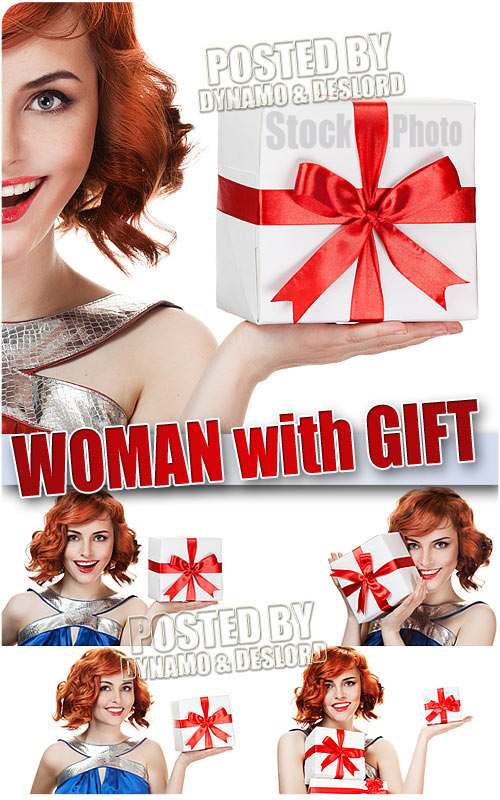 Woman with gift - UHQ Stock Photo