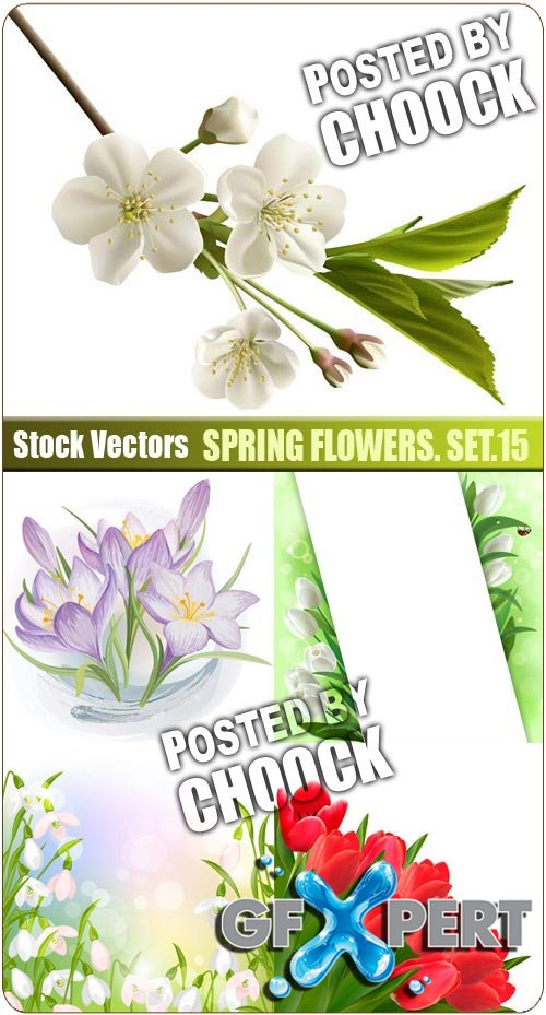 Spring flowers. Set.15 - Stock Vector
