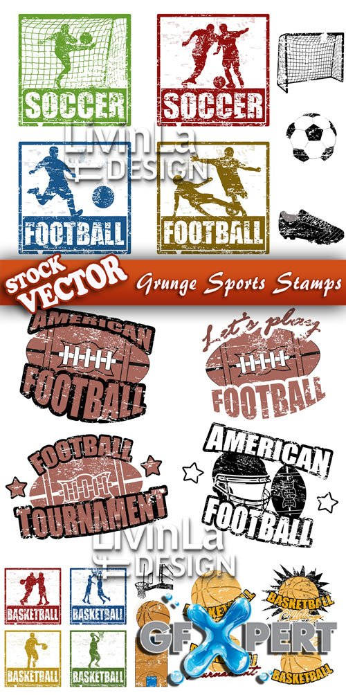 Stock Vector - Grunge Sports Stamps