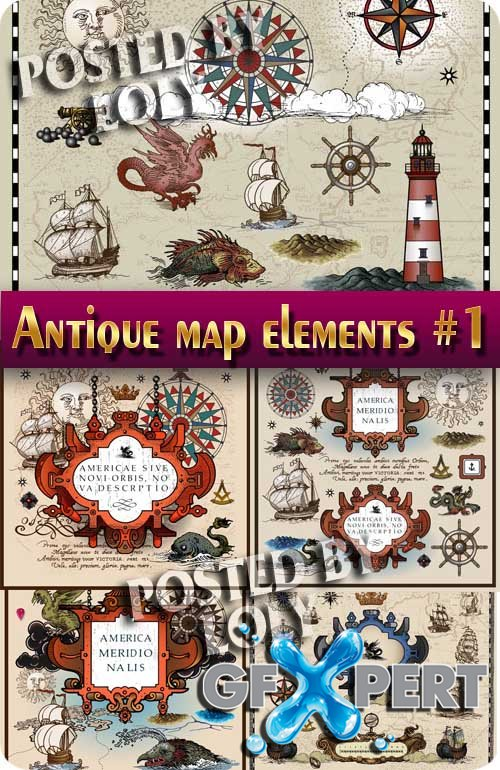 Antique map elements #1 - Stock Vector
