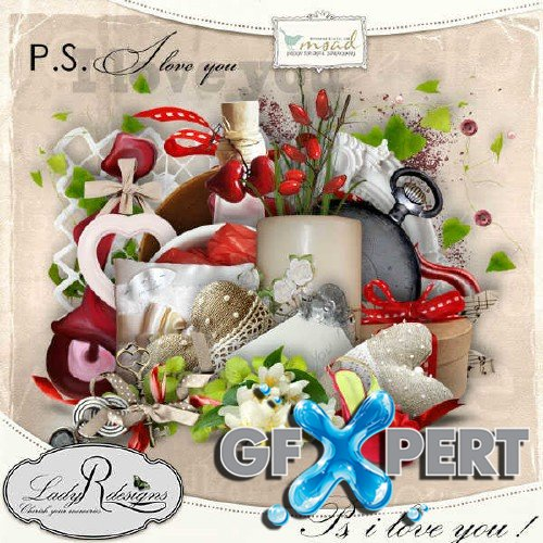 Romantic scrap kit - P.S, i love you