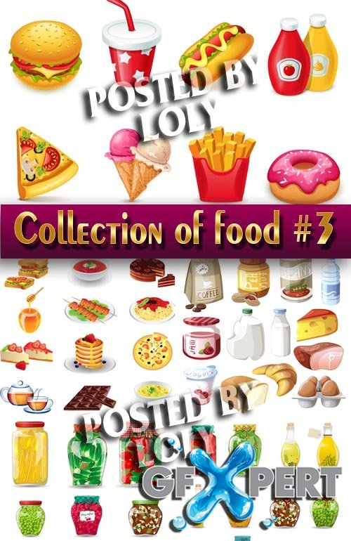 Food in the vector. Mega Collection #3 - Stock Vector