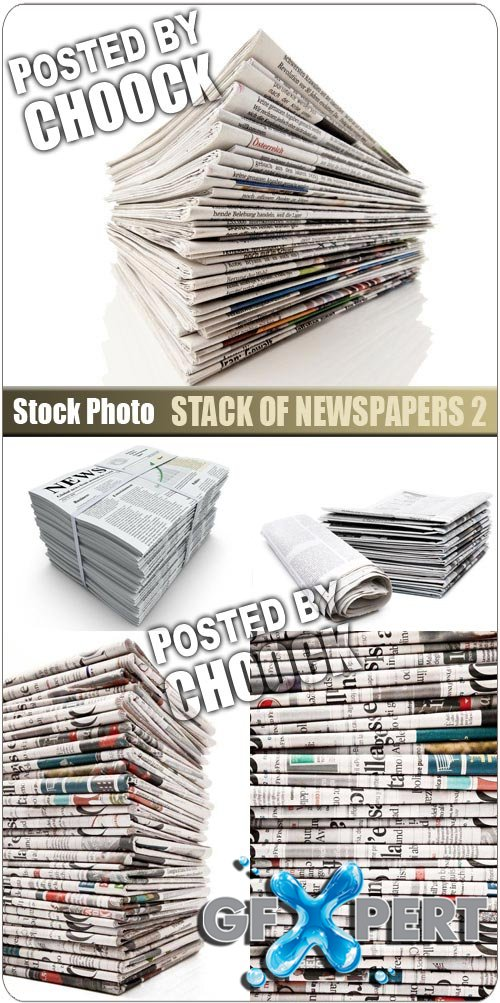 Stack of newspapers 2 - Stock Photo