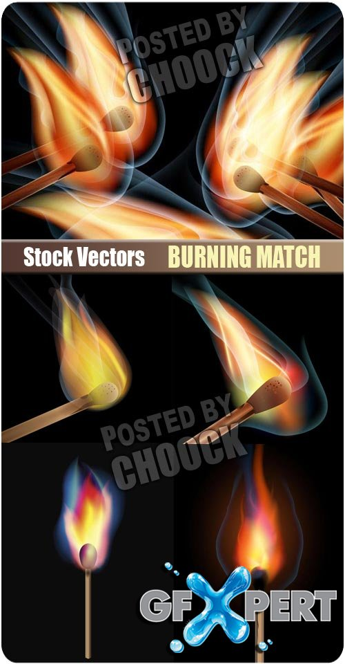 Burning match - Stock Vector