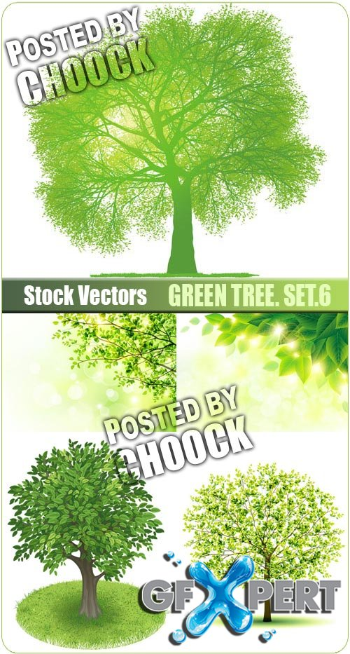 Green tree. Set.6 - Stock Vector