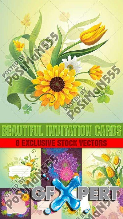 Beautiful flowers and leaves for invitation Cards - Vector