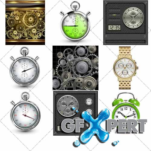 Clock and clockwork, speedometers, stopwatches - Vector