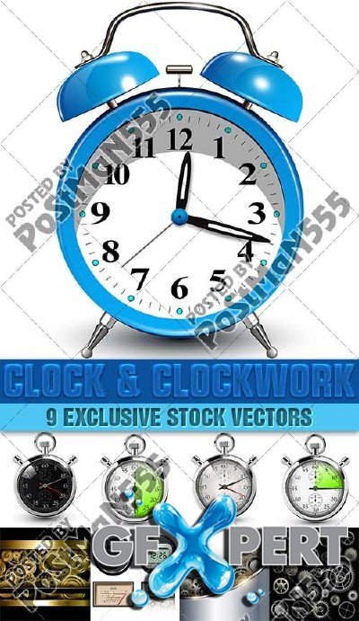 Clock and clockwork, speedometers, stopwatches, 2 - Vector