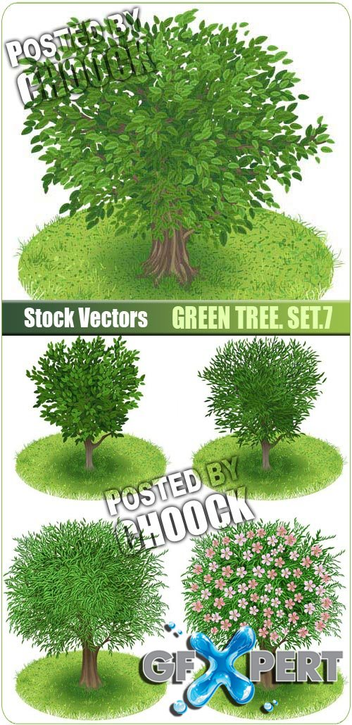 Green tree. Set.7 - Stock Vector