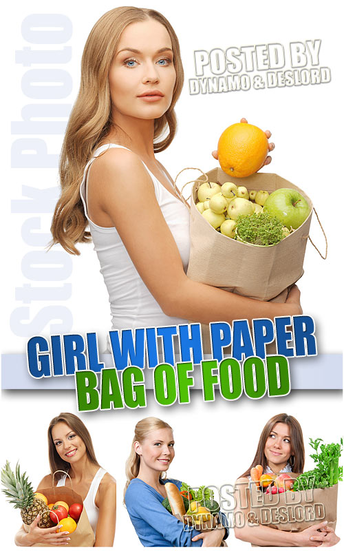 Girl with paper bag of food - UHQ Stock Photo