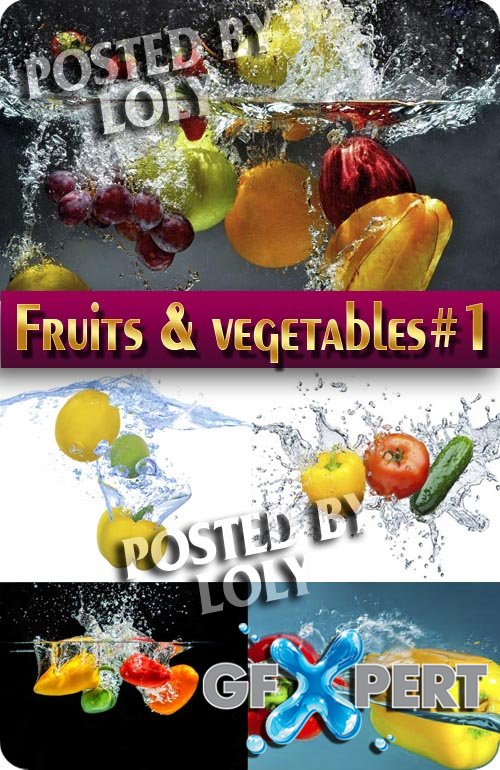 Fruits and vegetables in water #1 - Stock Photo