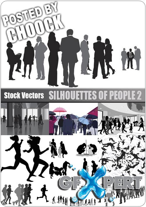 Silhouettes of people 2 - Stock Vector
