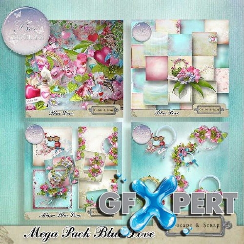 Digital scrapbooking kit - Blue Love