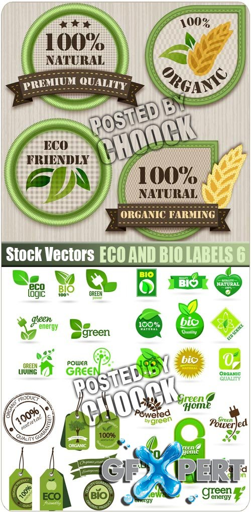 Eco and Bio labels 6 - Stock Vector