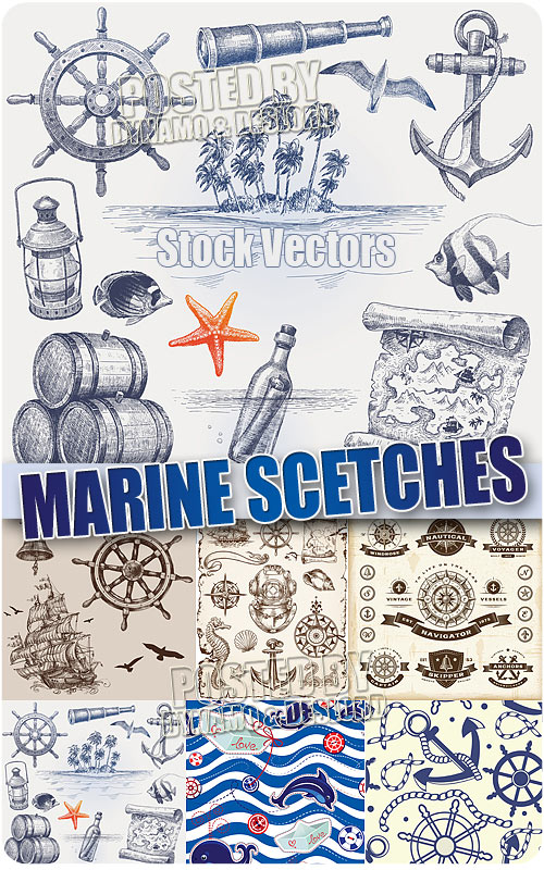 Marine pictures  - Stock Vector