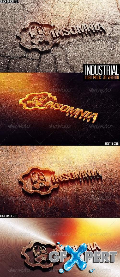 Industrial Photorealistic 3D Logo Mock-Up 3744369