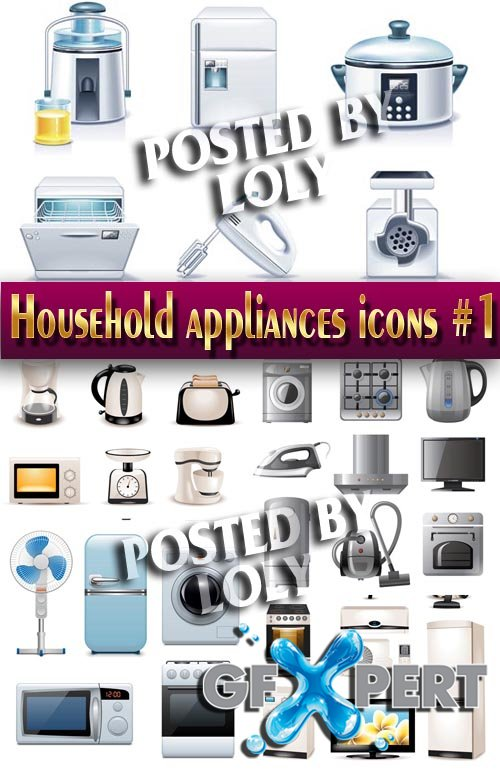 Household appliances icons #1 - Stock Vector