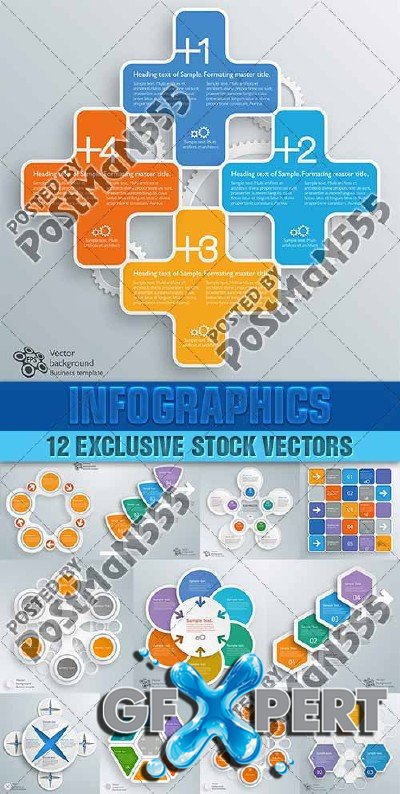Design templates for enterprises, infographics 12 - Vector