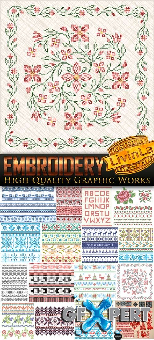 Exclusive - Embroidery Design - Stock Vectors