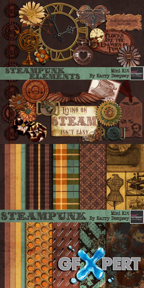 Scrap - Steampunk Kit JPG and PNG Files