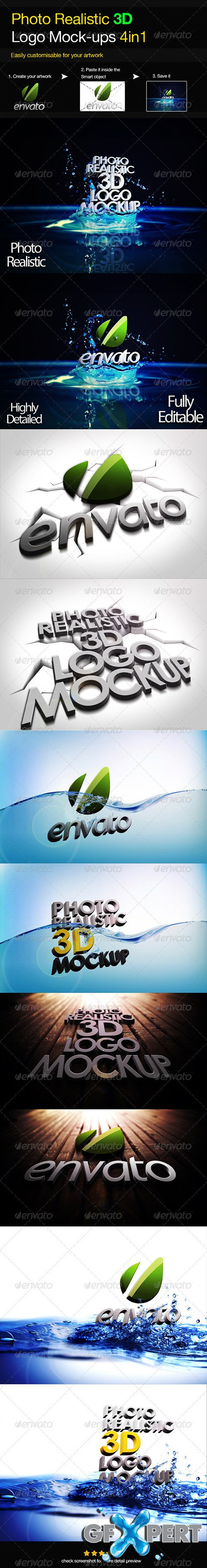 Photo Realistic 3D Logo Mock-up V.3