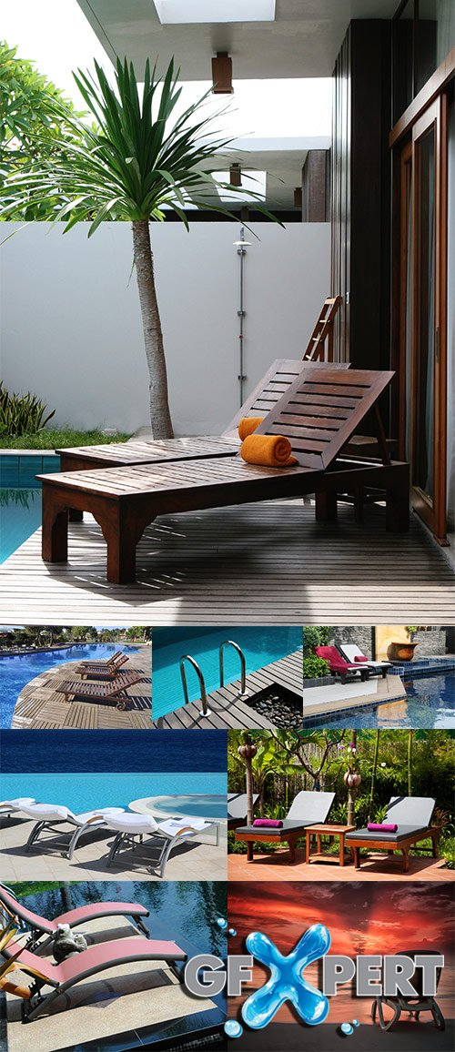 Stock Photo: Luxury outdoor swimmingpool chair