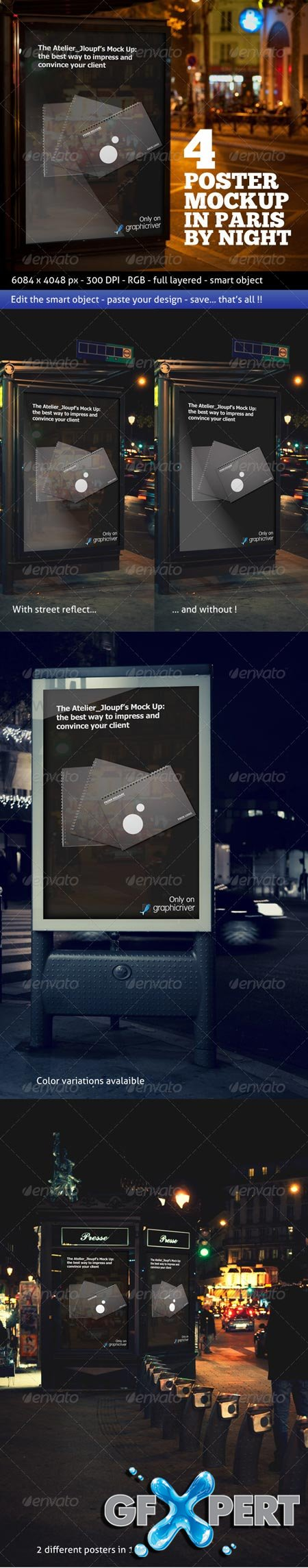 Photorealistic Poster Mockup In Paris By Night wovide