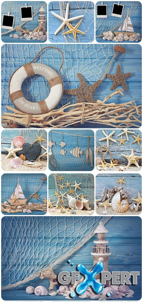 Marine life decoration and instant photos - Stock Photo