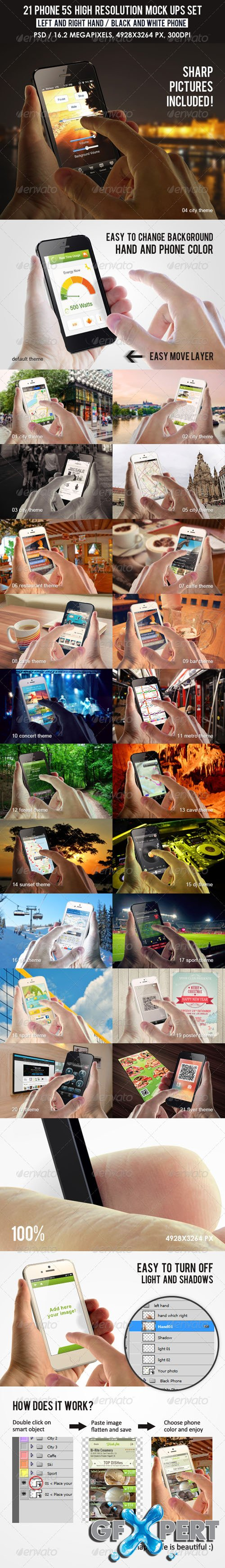 GraphicRiver 21 Phone 5s high resolution Mock Ups Set 7469693