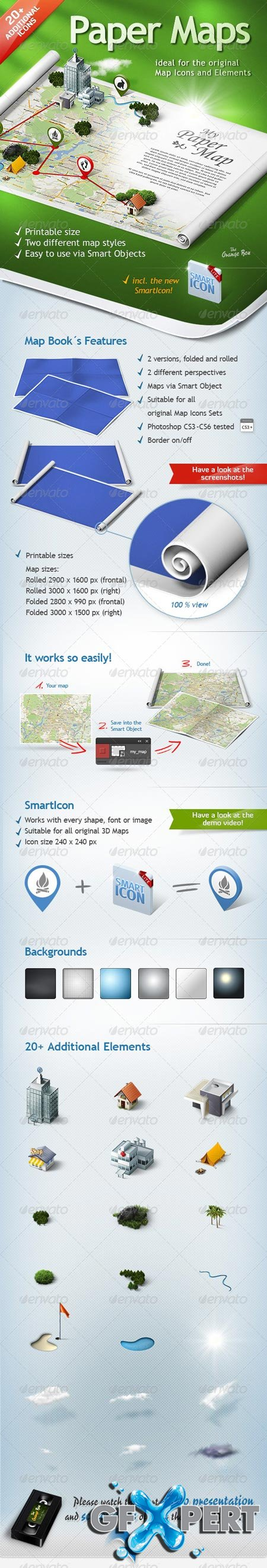 GraphicRiver Paper Maps – The stage for your 3D Maps and Icons 5473135