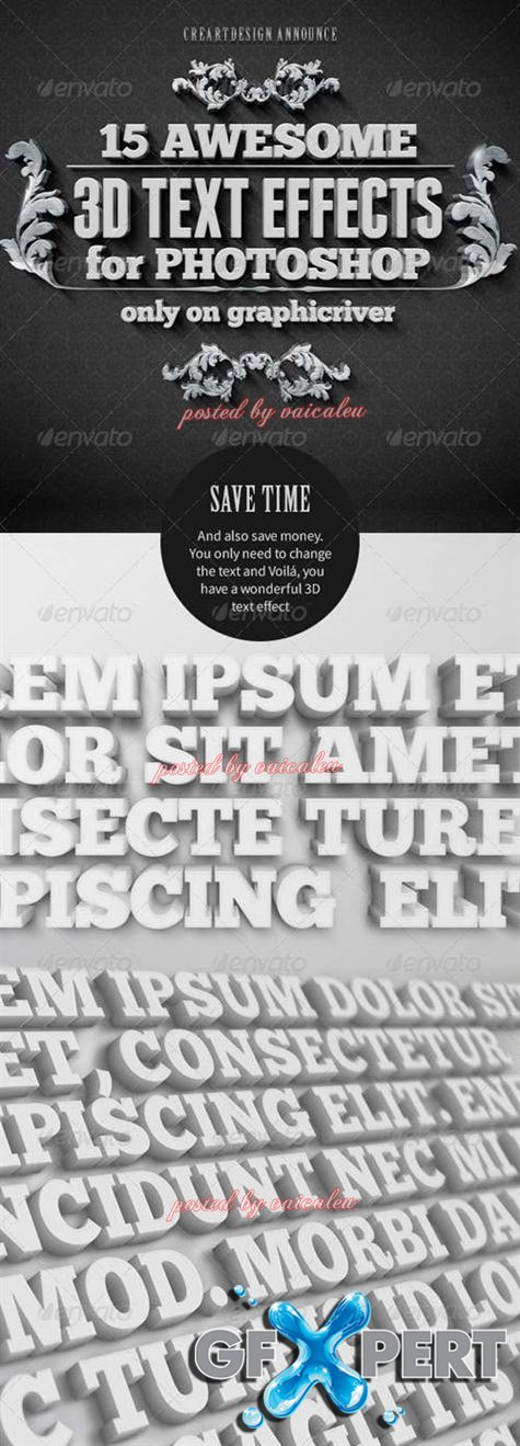 GraphicRiver 15 Various 3D Text Effects - Pack 1